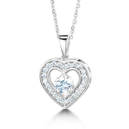 18ct White Gold  G, VS  Diamond pendant stone set heart shaped with round stone in centre